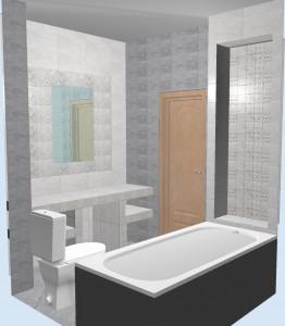 Ванная с плиткой Bastion серая. Фото 2