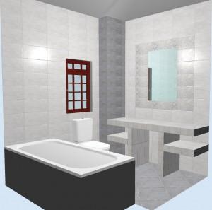 Ванная с плиткой Bastion серая. Фото 3