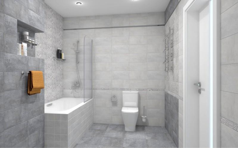 Керамическая плитка Bastion серая ceramica classic в ванной